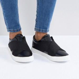 ASOS London Rebel Black Slip-on Elastic Sneaker